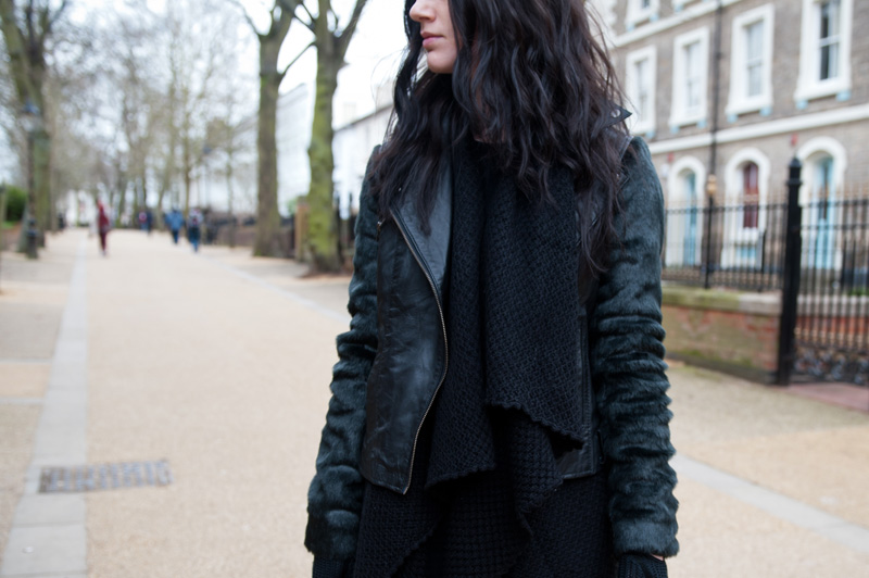 Fashion Blogger FAIIINT wearing ASOS Black Leather & Faux Fur Biker Jacket, ASOS Chunky Draped Cardigan. Gothic street style. Details.