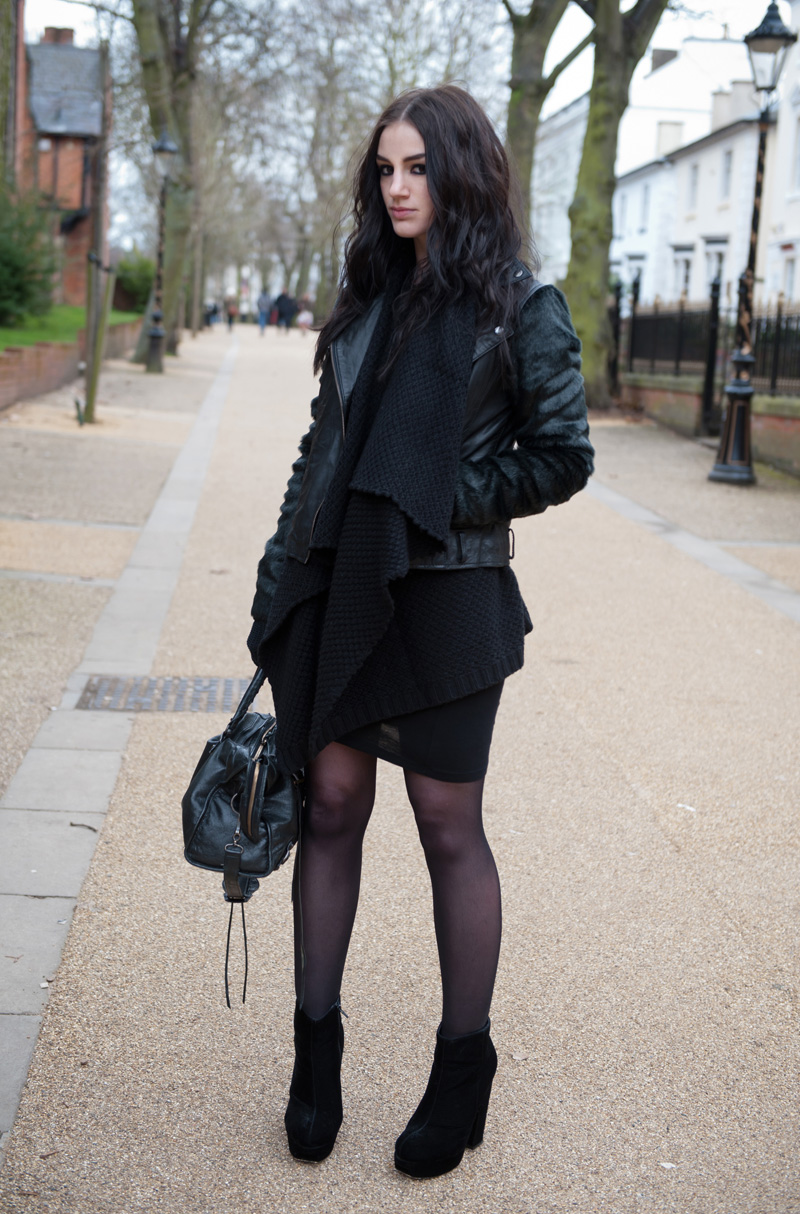 Fashion Blogger FAIIINT wearing ASOS Black Leather & Faux Fur Biker Jacket, ASOS Chunky Draped Cardigan, Stylistpick Velvet Boots & Balenciaga City. Gothic street style.