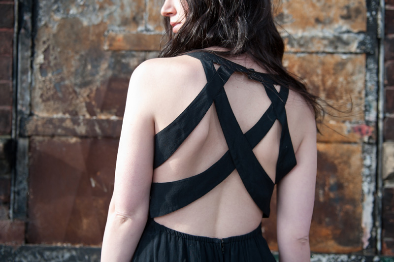 FAIIINT wearing 18 & East strappy black dress, back detail