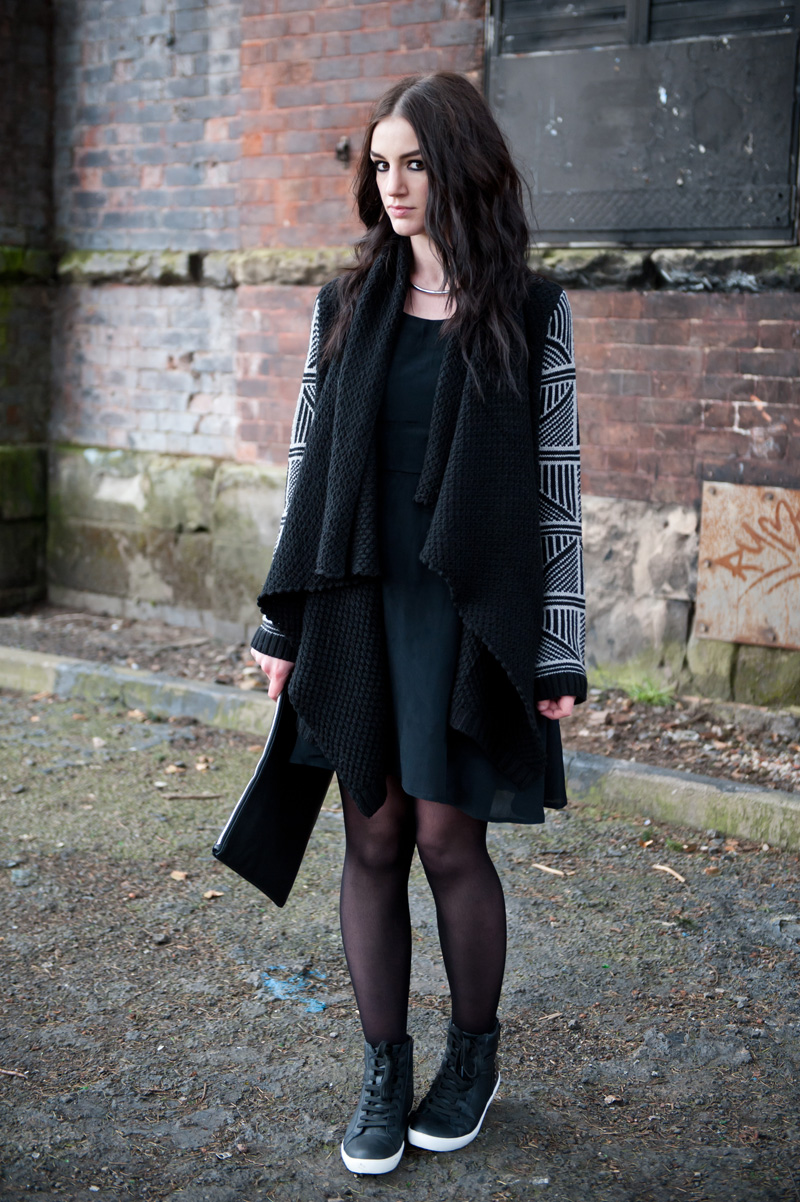 Fashion Blogger FAIIINT wearing Stylistpick avery high top studded sneakers shoes, 18 & East dress, ASOS draped chunky cardigan with geometric patterned sleeves, casual black outfit
