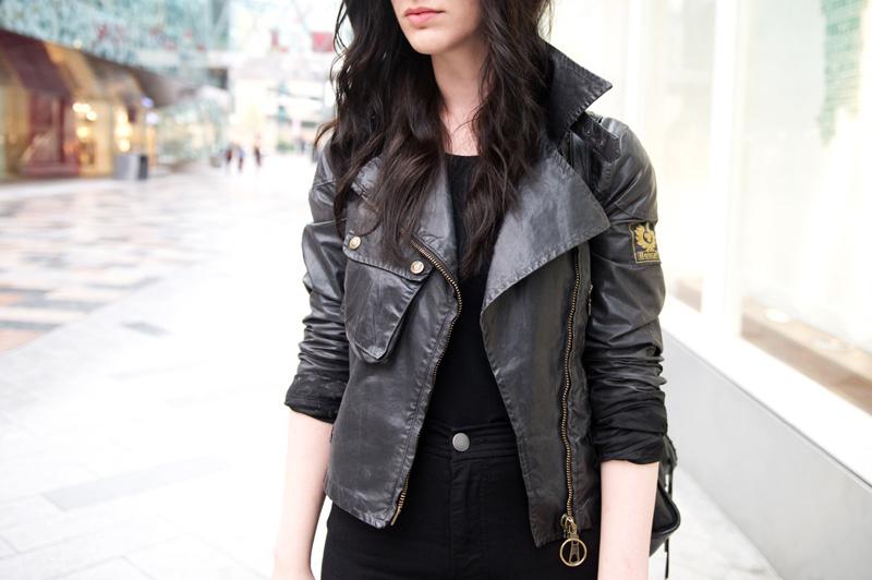 Fashion blogger stephanie of FAIIINT wearing Belstaff waxed cotton sammy miller biker jacket, ASOS tank top & hightwaisted jeans