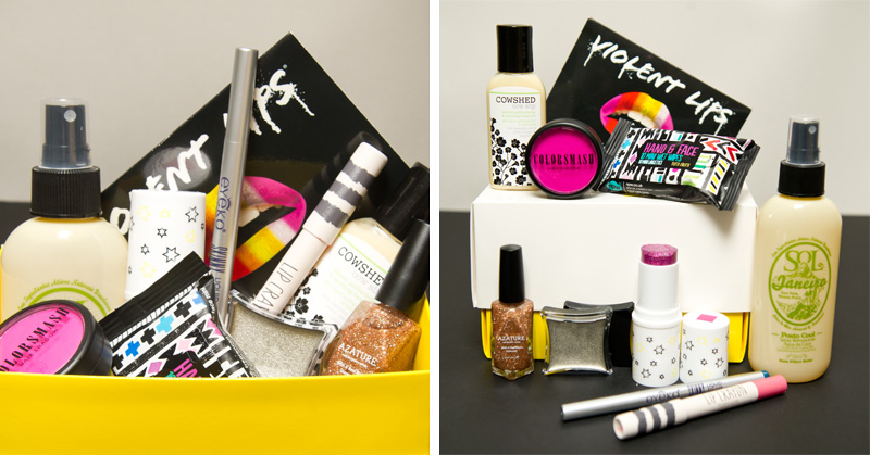 FAIIINT Selfridges Festival Beauty Box : Topshop lip crayon in Powder Room - Sol de Janeiro Coconut Water Cooling Mist - Eyeko Skinny Liquid Eyeliner in Navy - Coloursmash Hair Shadow in Je Ne Sais Quoi - Violent Lips Lip Appliques in Warm Rainbow - Illamasqua Liquid Metal in Surge - Azature nail polish in Champagne - Cowshed anti-bacterial hand gel - NPW mini scented hand & face wet wipes - NPW chubby glitter stick in Pink