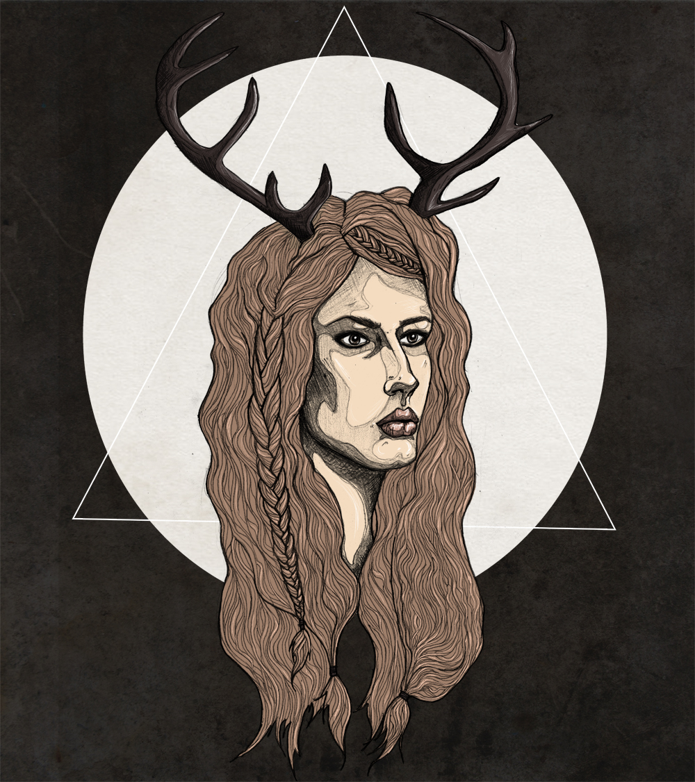 Fashion, Illustration, Antlers, Antler, Girl, Woman, Model, Fawn, Deer, FAIIINT
