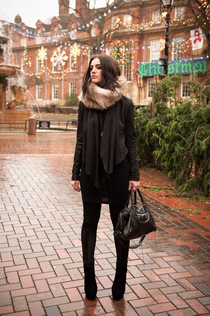 FAIIINT, Outfit, Fur, Snood, Leather, Jacket, Draped, Barneys New York, ASOS, Dress, Natalie Encarnita, Leggings, Mesh, Panels, Cut Outs, StylistPick, Eleonora, Boots, Velvet, Black, Grey, Taupe, Cream, Balenciaga, Bag, City