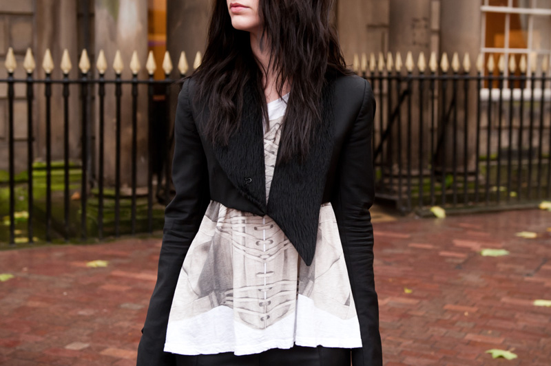 Fashion Blogger FAIIINT wearing Todd Lynn for Topshop Cropped Tux Jacket, Sass & Bide corset print tee, River Island faux leather leggings, Stylistpick velvet boots, Balenciaga city bag
