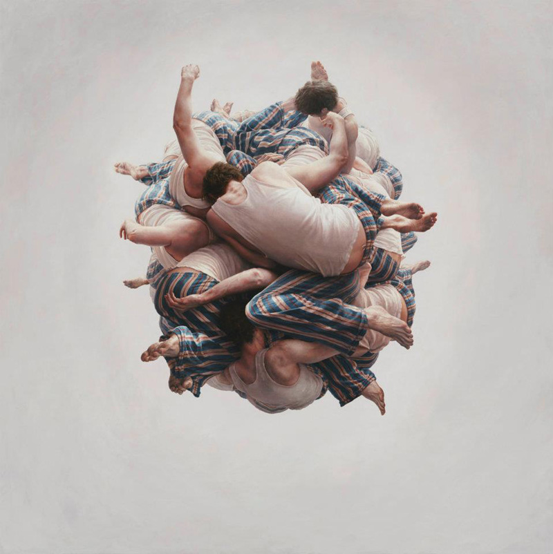 Jeremy Geddes, Cluster, Surrealism, Surrealist, People, Ball, Intertwined, Oil, Painting, Photo-realistic, Photo Realistic