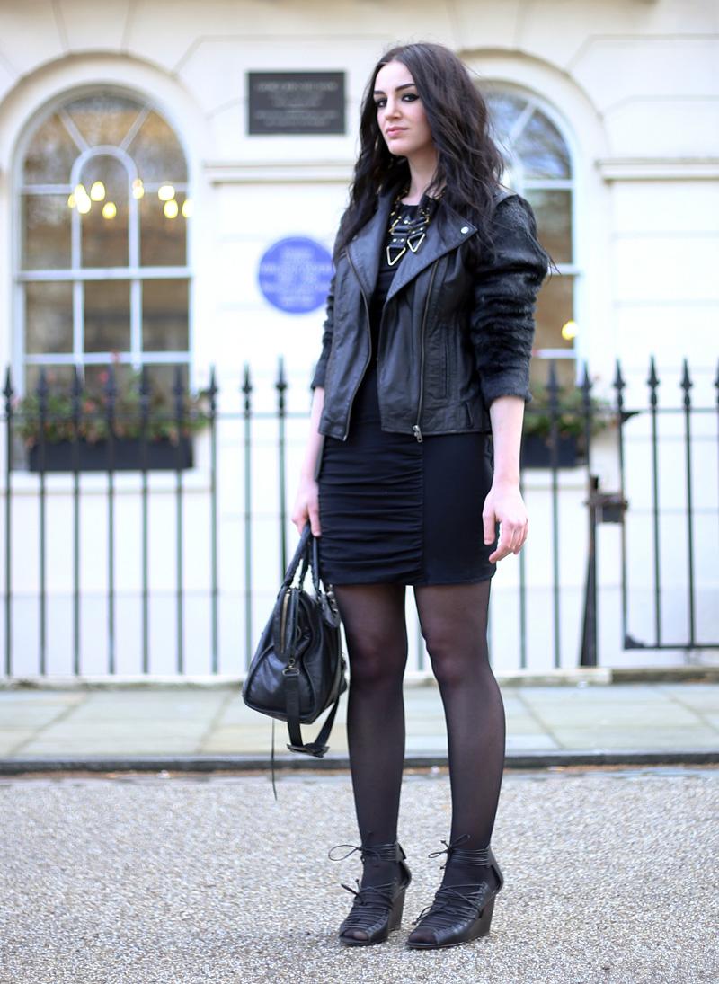 Fashion Blogger FAIIINT wearing Moxham Anubis Necklace, Topshop Boutique Dress, ASOS Leather & Faux Fur Jacket, Balenciaga Bag, ASOS Belt, ASOS Faux Fur & Leather Jacket, All Black, Street Style. Photo courtesy of Kylie at Memoir Mode.