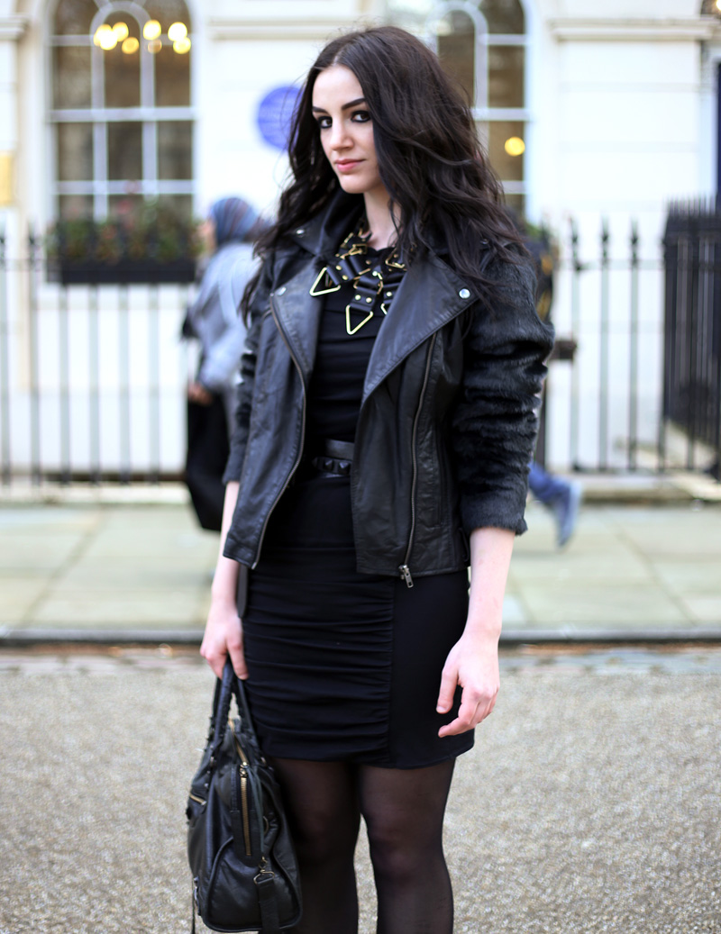 Fashion Blogger FAIIINT wearing Moxham Anubis Necklace, Topshop Boutique Dress, ASOS Leather & Faux Fur Jacket, Balenciaga Bag, ASOS Belt, All Black, Street Style. Photo courtesy of Kylie at Memoir Mode.