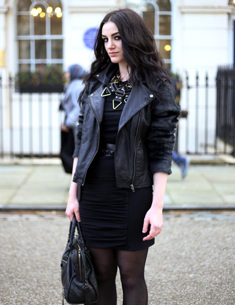 Fashion Blogger FAIIINT wearing Moxham Anubis Necklace, Topshop Boutique Dress, ASOS Leather & Faux Fur Jacket, Balenciaga Bag, ASOS Belt, All Black, Street Style. Photo courtesy of Kylie at Memoir Mode.