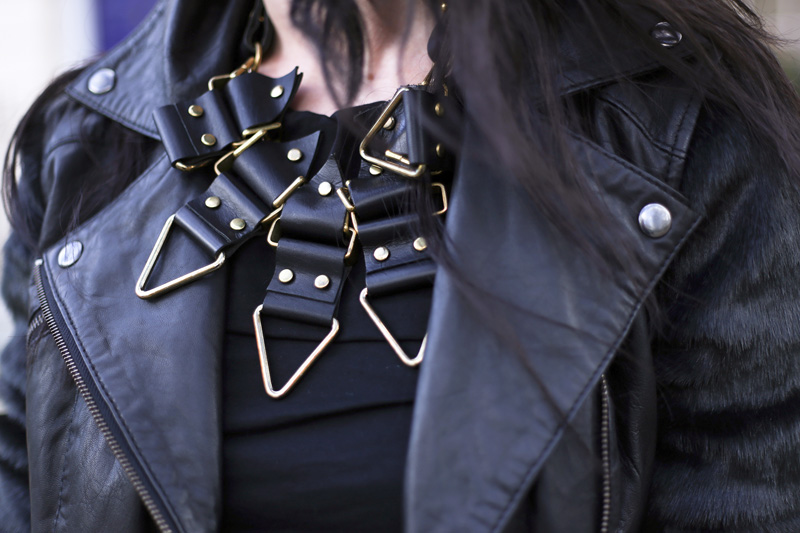 Fashion Blogger FAIIINT wearing Moxham Anubis Necklace, Topshop Boutique Dress, ASOS Leather & Faux Fur Jacket, All Black, Street Style. Photo courtesy of Kylie at Memoir Mode.