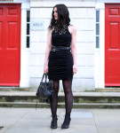 Fashion Blogger FAIIINT wearing Moxham Anubis Necklace, Topshop Boutique Dress, Finsk Wedges, Balenciaga Bag, ASOS Belt, All Black, Street Style. Photo courtesy of Kylie at Memoir Mode.