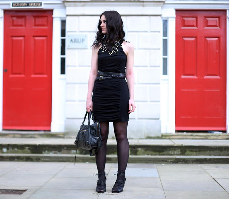 Fashion Blogger FAIIINT wearing Moxham Anubis Necklace, Topshop Boutique Dress, Finsk Wedges, Balenciaga Bag, ASOS Belt, All Black, Street Style. Photo courtesy of Kylie at Memoir Mode.