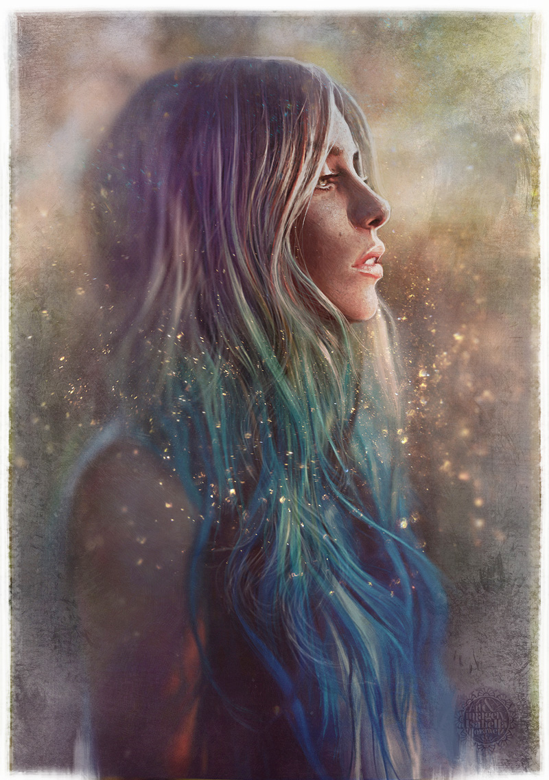 Isabella Morawetz, Girl, Painting, Digital, Photoshop, Ombre, Hair, Pastel, Fairytale, Sparkly, Dip Dye, Blue, Green, Portrait