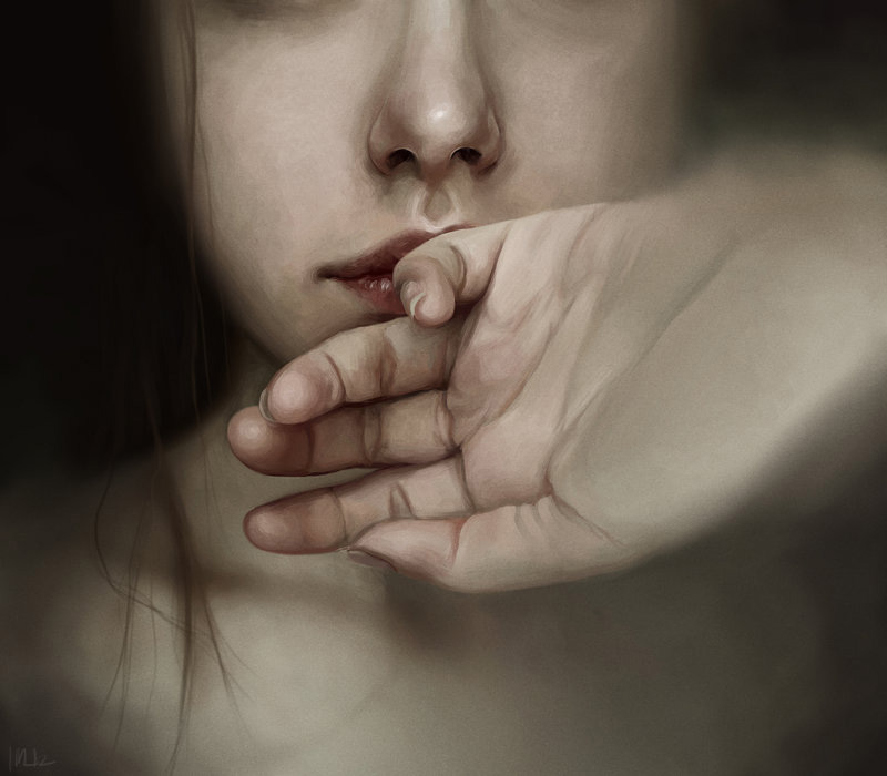 Isabella Morawetz, Painting, Digital, Photoshop, Portrait, Hand, Girl, Dark, Haunting, Isolation