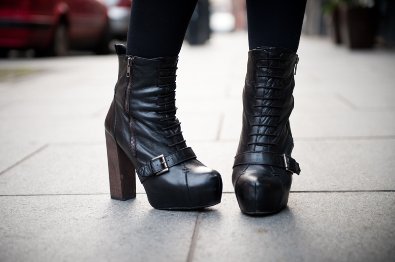 FAIIINT, Outfit, Detail, Topshop, Boutique, Boots, Heels, Lace up, Platform, Black, Leather, Wooden Heel, Buckle,