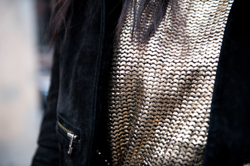 FAIIINT, Outfit, Black, Gold, Brown, Metallic, Knit, Chunky, Sweater, Jumper, Boohoo, Boohoo.com, Topshop, Jacket, Suede, Cropped, Leather, Detail, Close Up