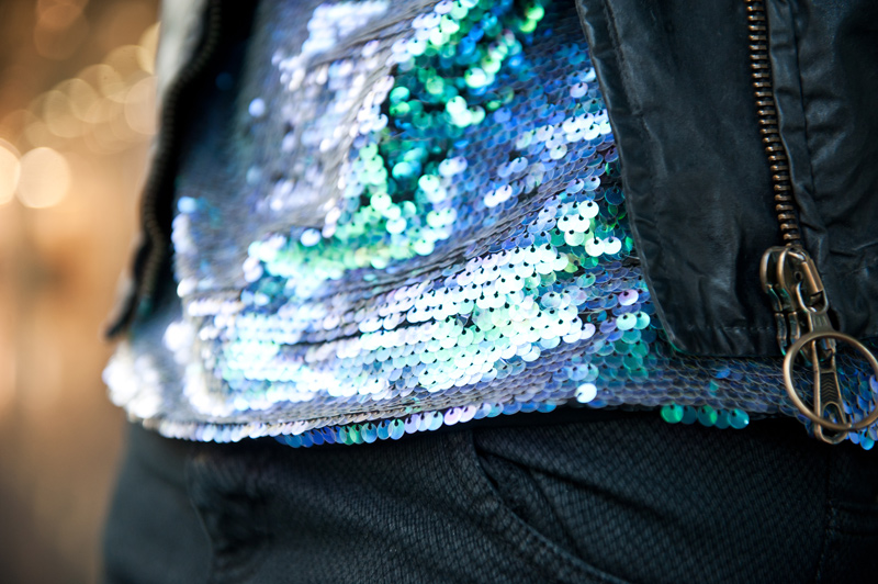 FAIIINT, Outfit, Lashes of London, Sequin, Mermaid, Tee, Iridescent, Green, Purple, Black, Grey, Belstaff, Waxed, Cotton, Biker, Jacket, Sammy Miller, Topshop, Snake, Print, Jeans,