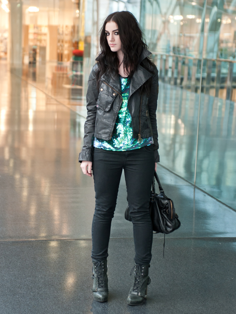 FAIIINT, Outfit, Lashes of London, Sequin, Mermaid, Tee, Iridescent, Green, Purple, Black, Grey, Belstaff, Waxed, Cotton, Biker, Jacket, Sammy Miller, Topshop, Snake, Print, Jeans, Topshop Boutique, Lace Up, Boots, Balenciaga, City