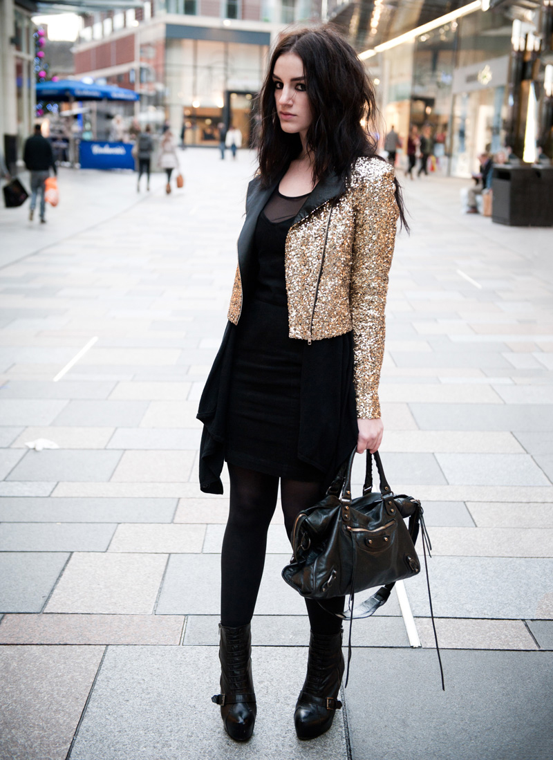 FAIIINT, Outfit, Black, Gold, Sequin, Glitz, Sparkle, Festive, Biker, Jacket, Mary Jane Fashion, ASOS, Dress, Mesh, Denim, Drape, Mango, Cardigan, Asymmetric, Topshop, Boutique, Boots, Lace Up, Balenciaga, City, Bag, Stephanie Brown, Fashion, Blogger, Style, Rock, Grunge, Goth