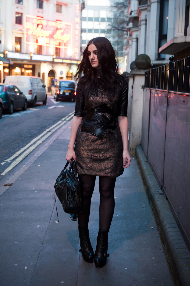 FAIIINT, Outfit, Style, Event, Night, ASOS, Faux Fur, Metallic, Shift, Leather, Dress, Bracher Emden, Belt, Topshop, Boots, Balenciaga City, London,