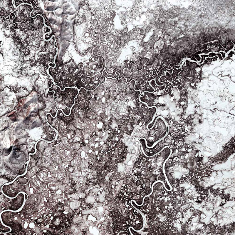 NASA, Earth As Art, Landsat 7, Mayn River, Russia,