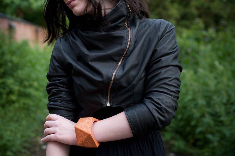 FAIIINT, Draped, Jacket, Leather, Cropped, ASOS, Bangle, Orange, Black