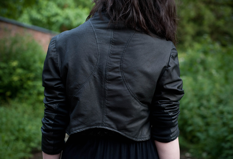 FAIIINT, Draped, Jacket, Leather, Cropped, Black, Back, Detail