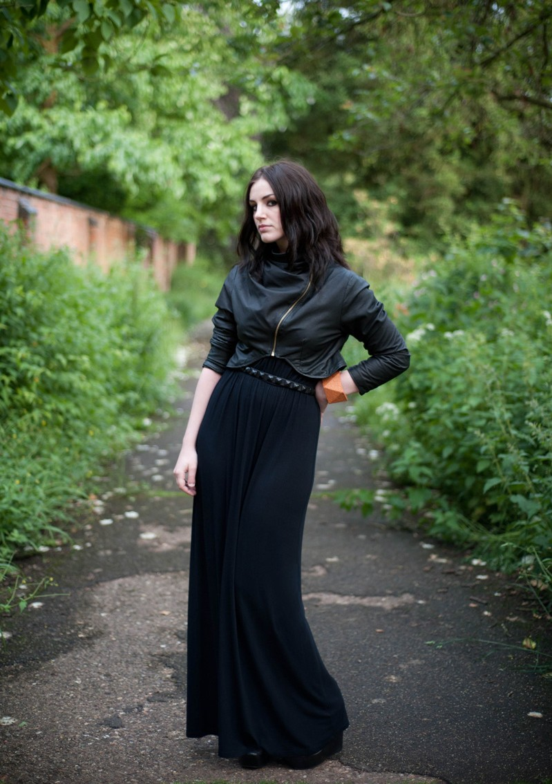 FAIIINT, Draped, Jacket, Leather, Cropped, ASOS, Bangle, Orange, Black, Maxi, Dress, Topshop, Wedged, Studs, Belt, Studded, WIWT, OOTD, Park, Nature, Outfit