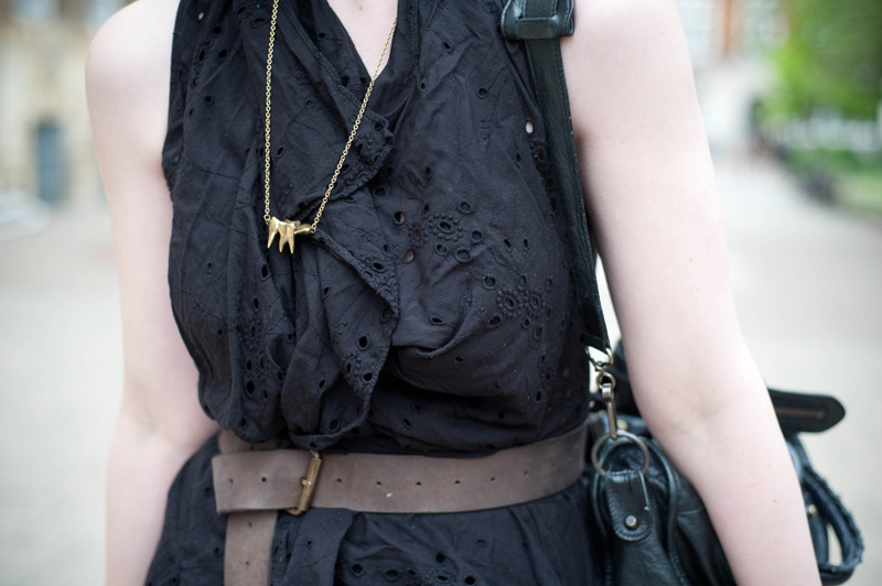 All Saints, Embroidery Anglase, Belt, Distressed, Detail, Dress, Lace, Teeth, Necklace, Brass, Galibardy
