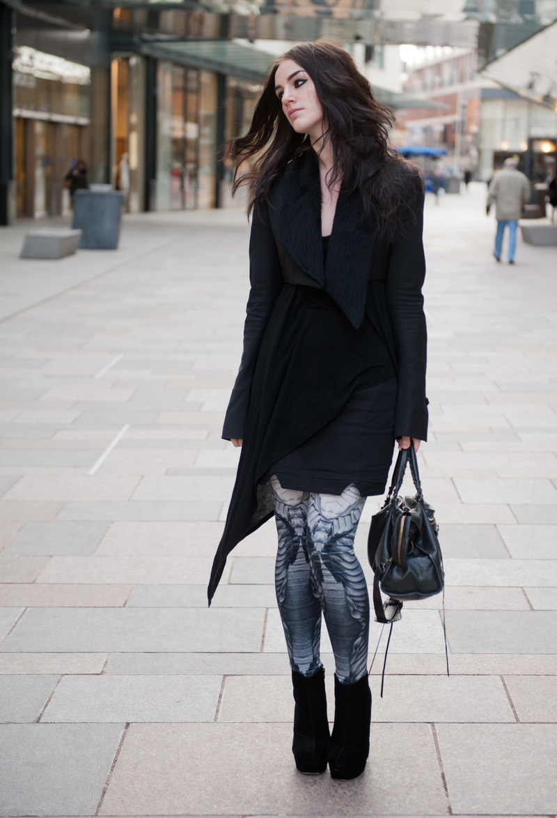 Fashion blogger FAIIINT wearing Todd Lynn for Topshop cropped tux jacket with fur collar, topshop asymmetric vest, DIY hand made skirt, Georgia Hardinge for River Island Design Forum printed leggings, Stylistpick velvet boots, Balenciaga city, Street style, Sci Fi, Outfit, Gothic