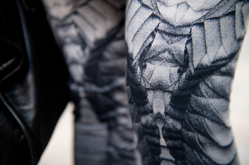 Geogria Hardinge for River Island Design Forum printed leggings close up detail