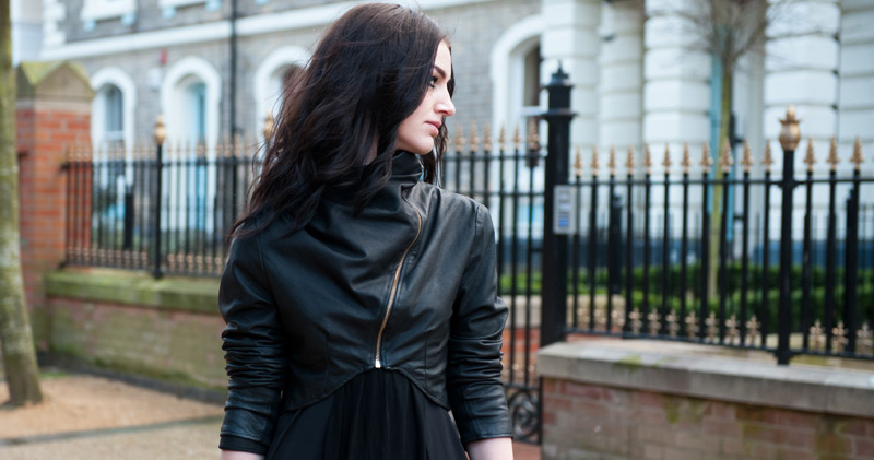 Gothic Street Style Outfit - FAIIINT Handmade Cropped & Draped Leather Jacket with ASOS Maxi Dress. Stephanie Brown of FAIIINT, Leicester Fashion & Style Blogger
