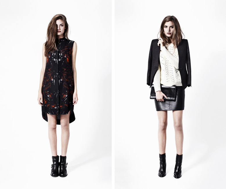 Allsaints, Autumn, Winter, 2012, Lookbook, Opium Dress, Lena Blazer, Clara Jumper, Lucille Leather Skirt, Kubrick Clutch, Boots