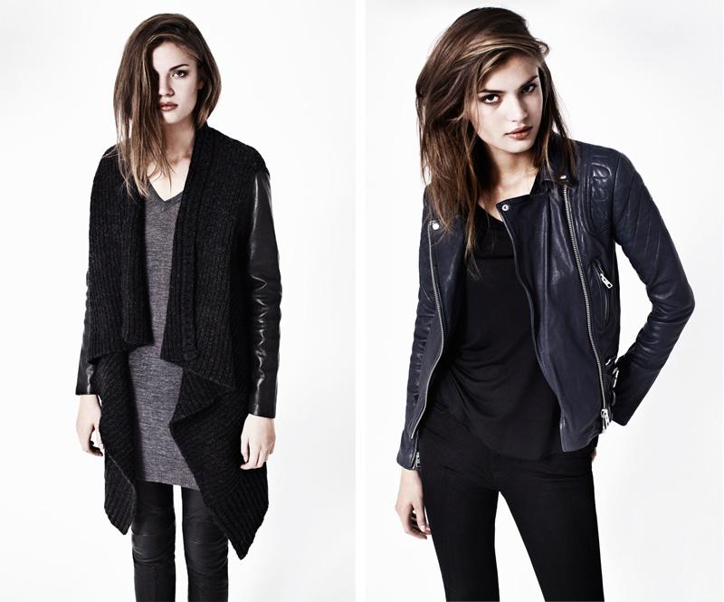 Allsaints, Autumn, Winter, 2012, Lookbook, Force Cardigan, Wasson Jumper Dress, Biker Trouser, Jules Boot, Biker Jacket, Navy, Blue, Leather