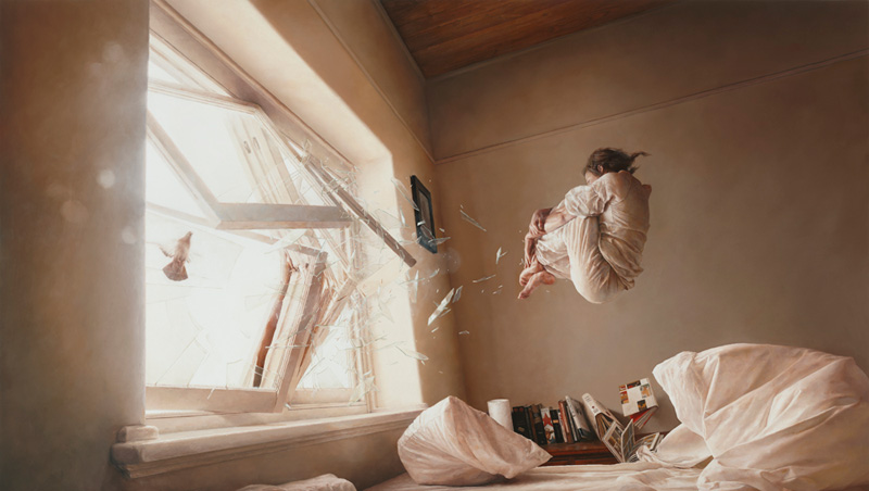 A Perfect Vaccum, Jeremy Geddes, Surreal, Surrealist, Oil, Painting, Dreamy, Girl, Room, Floating, Falling, Smashed Glass, Bedroom, Photo Realistic
