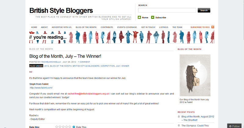 British Style Bloggers, BSB, Blog Of The Month, July 2012, FAIIINT, Press, Clipping