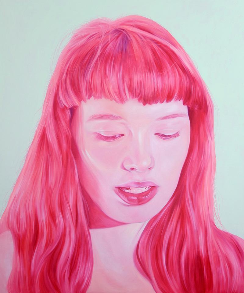 Jen Mann Strange Beauties Bubblegum pink girl, art, painting, illustration, realistic