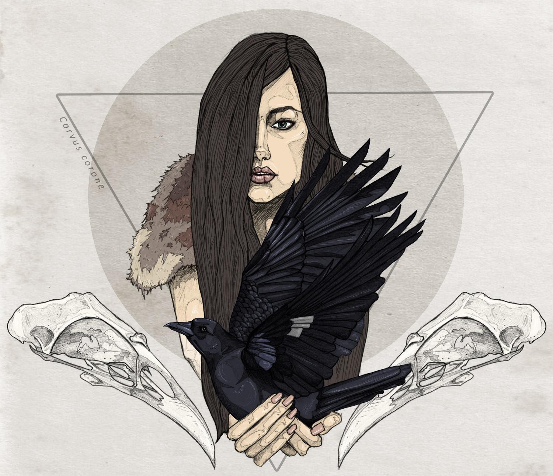 Illustration, FAIIINT, Crow, Skulls, Fashion, Bird, Girl, Native, Occult