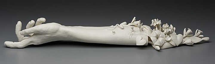 Kate MacDowell,Arm, Amputated, Flowers, Growth, porcelain, Glaze, White, Delicate, Fragile, Beautiful, Handcrafted, Art, Sculpture, Macabre, Nature, Anatomy, Human, Birds, Hand Built, Haunting, China,