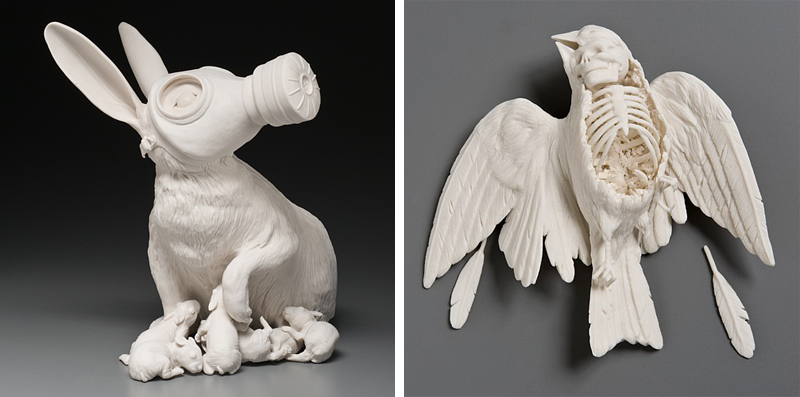 Kate MacDowell, Sparrow, Rabbit, Gas Mask, Skeleton, Skull, Death, porcelain, Glaze, White, Delicate, Fragile, Beautiful, Handcrafted, Art, Sculpture, Macabre, Nature, Anatomy, Human, Birds, Hand Built, Haunting, China,