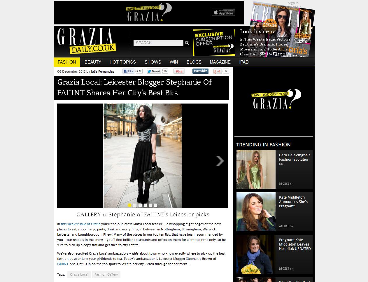 Grazia, Grazia Daily, Local, Ambassador, Regional, Specials, FAIIINT, Stephanie Brown, Leicester, Feature, Blog, Post, Press