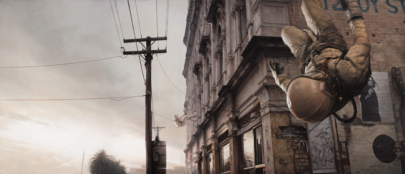 Jeremy Geddes, Heat Death, Surreal, Surrealist, Oil, Painting, Astronaut, Spaceman, Falling, Street, Landscape, Dreamy, Photo Realistic