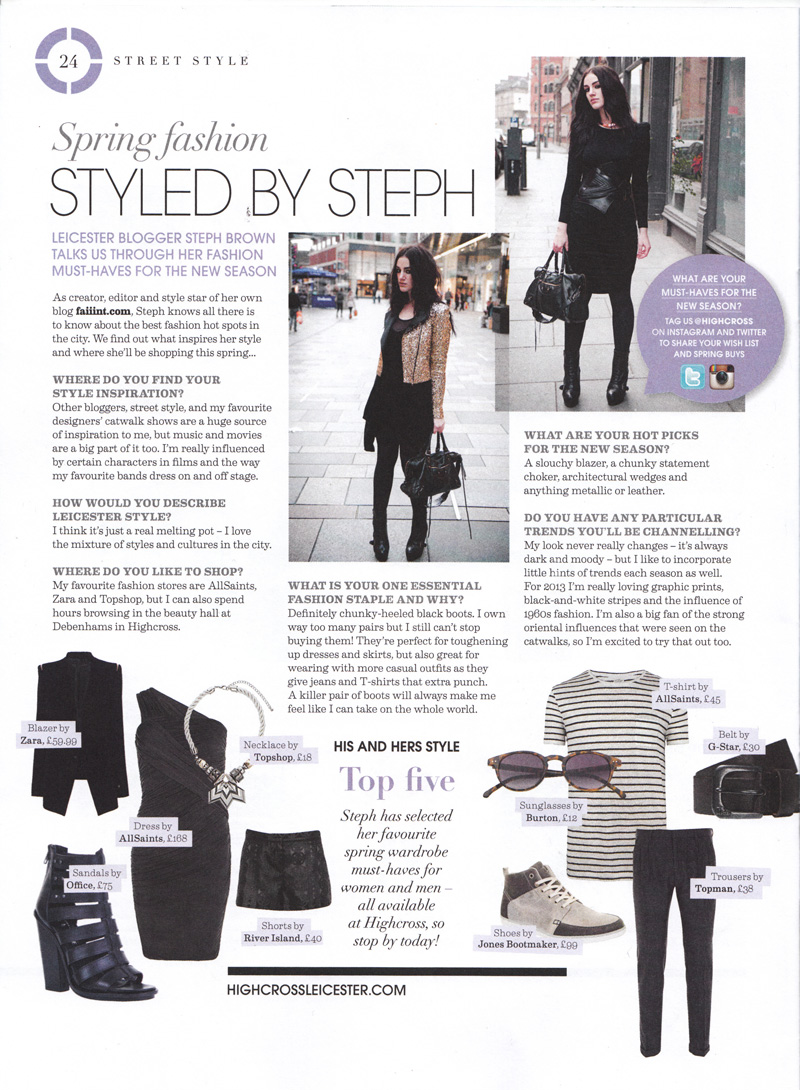Stephanie Brown of FAIIINT featured in Leicester Highcross Highlight Magazine, Press feature, Fashion blogger,