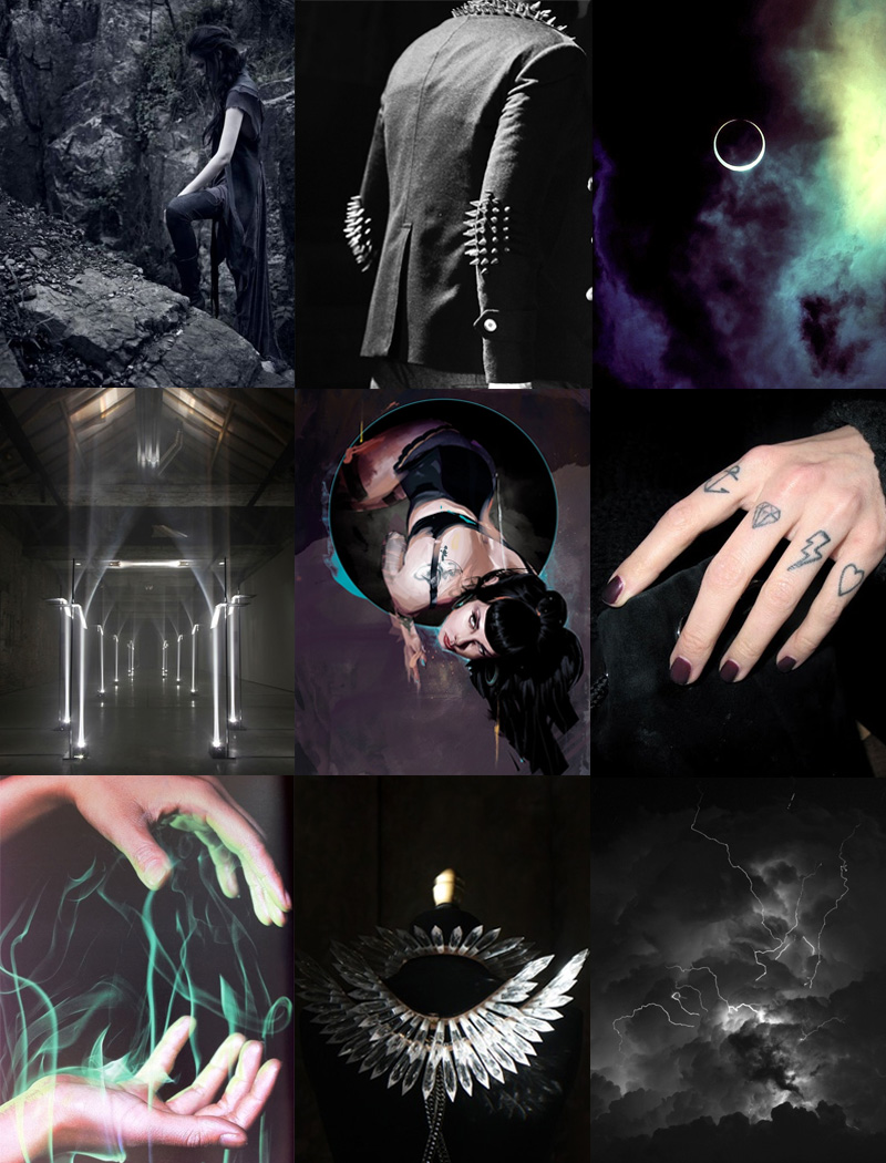 FAIIINT, Inspiration, Mood Board, Fashion, Space, Moon, Eclipse, Purple, Blue, Black, White, Grey, Clouds, Smoke, Witchcraft, Spells, Spikes, Crystal, Gothic, Romantic, Religious, Thunder, Lightning, Studs, Studded, Pin Up, Illustration,
