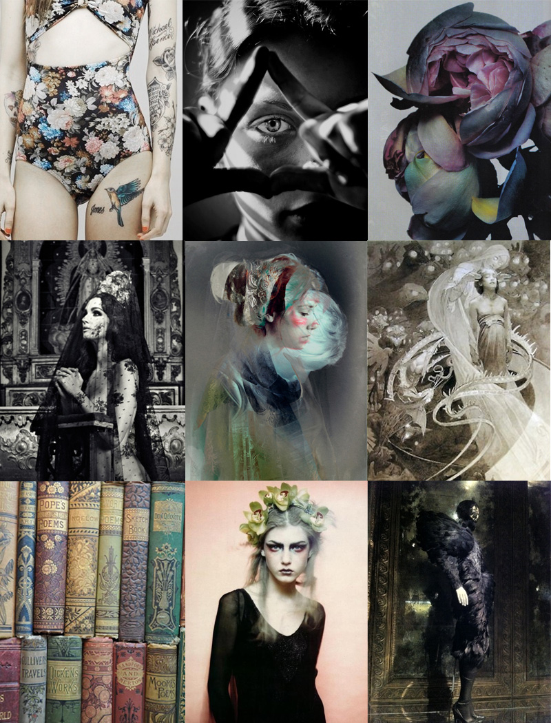 FAIIINT, Inspiration, Mood Board, Gothic, Retro, Floral, Moody, Dark, Pastel, Religious, Goth, Pink, Blue, Yellow, Black, Grey, Black & White, Dying, Flowers, Tattoos, Girl, Fashion, Theme