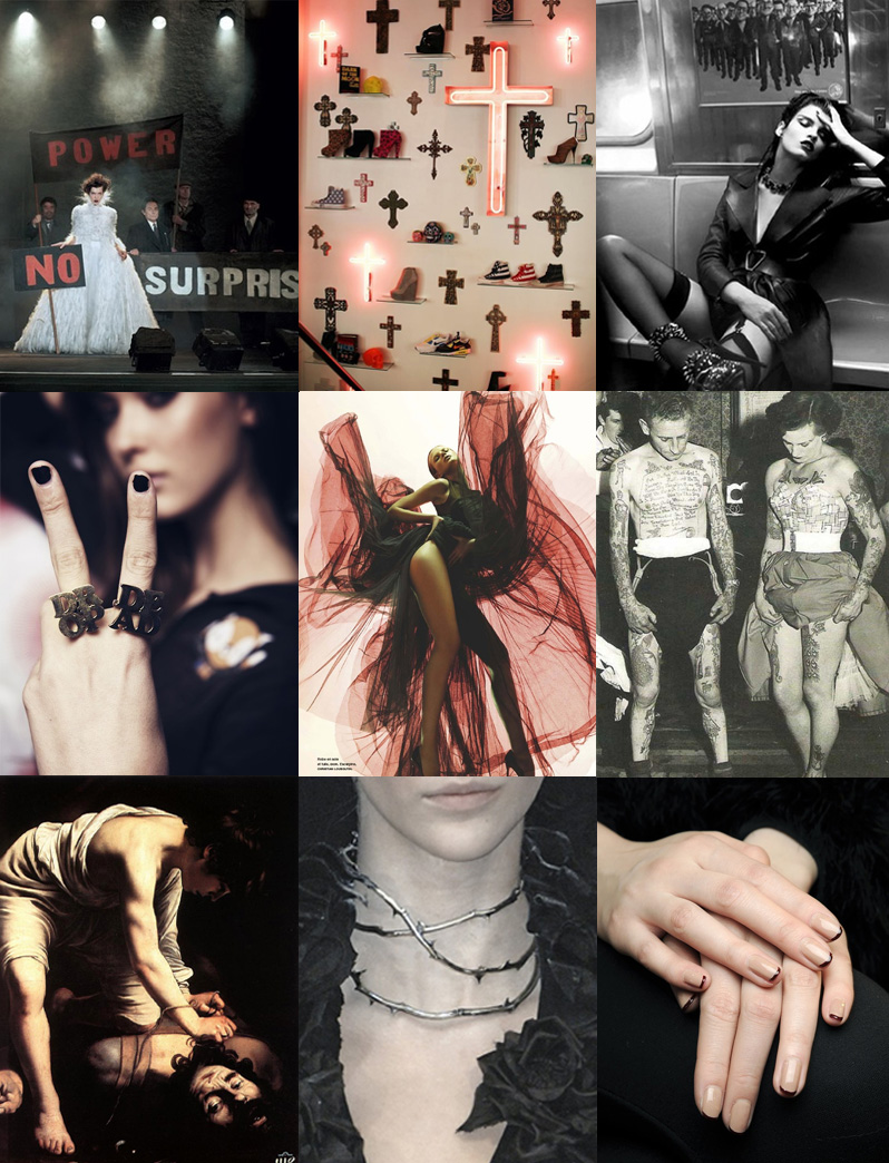 FAIIINT, Inspiration, Mood, Board, Red, Black, White, Flesh, Cross, Crucifix, Fashion, Manicure, Tattoos, Caravaggio, Editorial