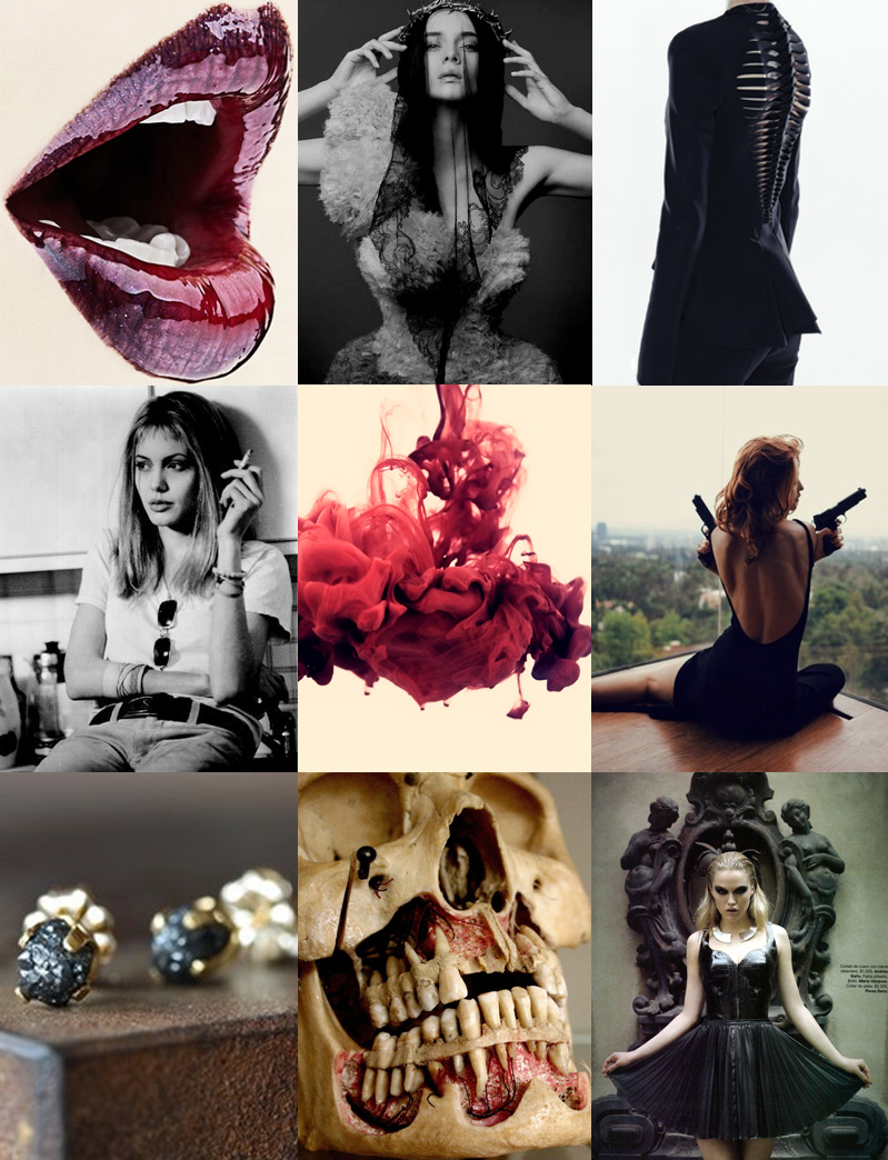 Inspiration, Mood Board, Collage, Black, Red, White, Flesh, Nude, Anatomy, Skull, Blood, Gun, Lips, Mouth, Diamonds, Gothic