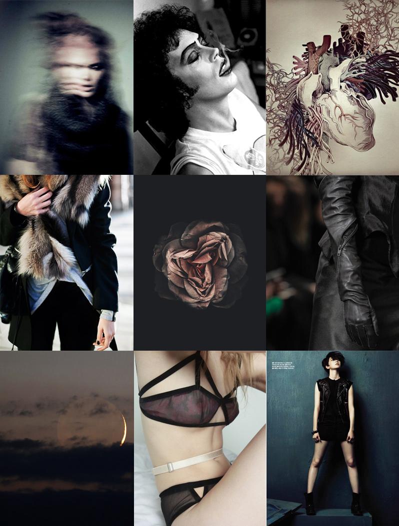 Inspiration, Mood Board, Anatomy, Rocky Horror, Underwear, Lingerie, Rose, Fur, Leather, Androgyny, Black, Grey, Pink, Beige, Nude, Feminine, Masculine, Hard, Soft