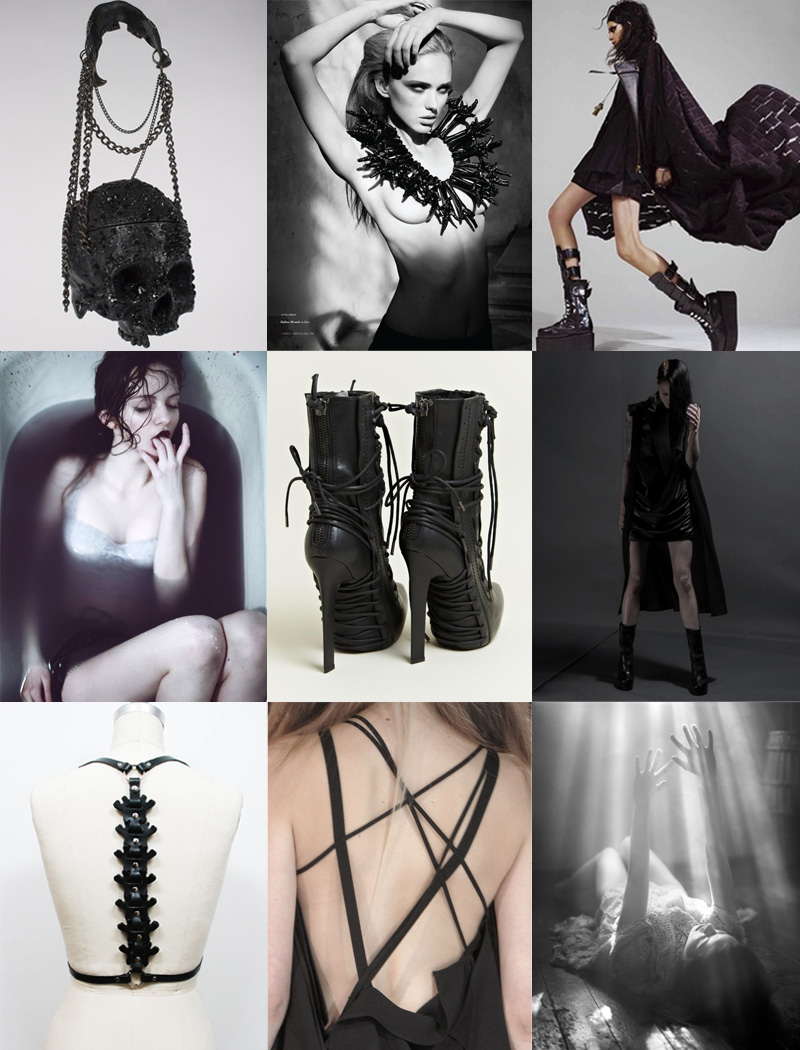 FAIIINT, Inspiration, Mood Board, Gothic, Dark, Sexy, Anatomical, Spine, Skull, Fashion, Black, Grey, Purple, Dingy, Grunge, Grungey, Editorial, Boots,