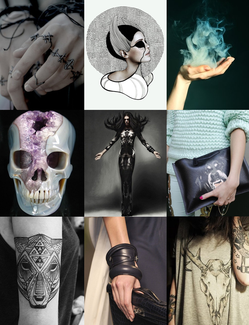 FAIIINT, Inspiration, Mood, Board, Skull, Tattoo, Rings, Smoke, Grunge, Gothic, Blue, Purple, Black, Grey, Pastel,